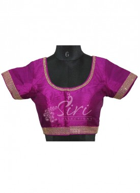 Purple Dupion Silk Stitched Blouse with Sequins Work