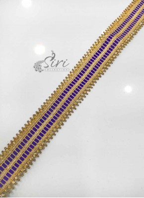 Purple Gold Stone Work Fancy Lace Border