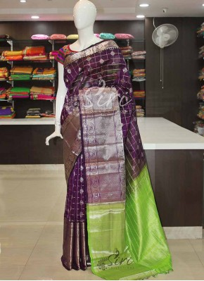 Purple Green Pure Kuppadam Silk Saree in Silver Zari