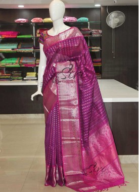 Purple Magenta Pure Kuppadam Silk Saree in Silver and Gold Zari