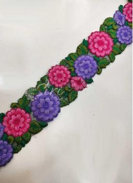 Purple Pink Green Designer Cut Work Border Lace in Embroidery Work