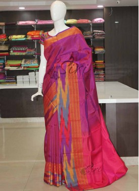 Purple Pink Uppada Silk Saree in Ikat Border
