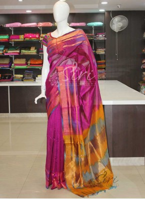 Purple Pure Uppada Seico Saree in Ikat Design Border Pallu