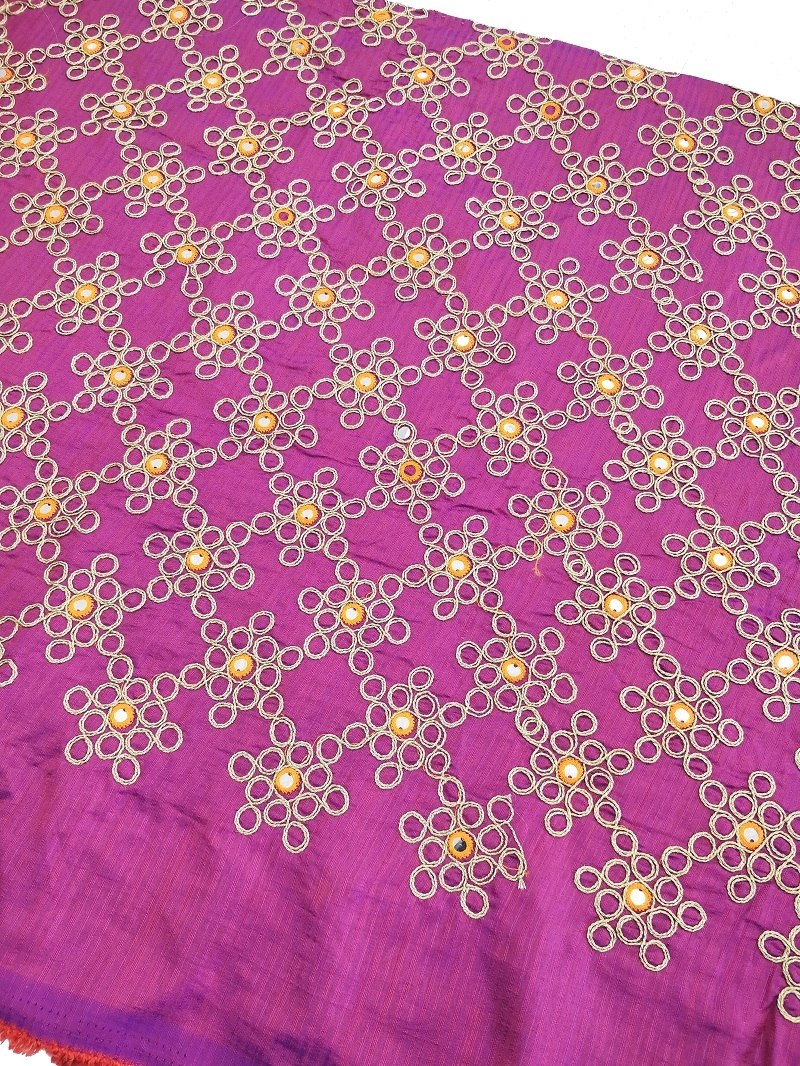 Purple Raw Silk Fabric in Gold Embroidery and Mirror Work Per Meter