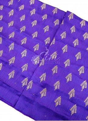 Purple Silk Fabric in Zari Embroidery and Sequins Butis Per Meter
