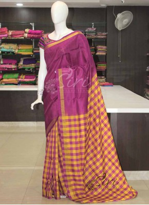 Purple Yellow Checkered Design Patli Pallu Uppada Silk Saree-
