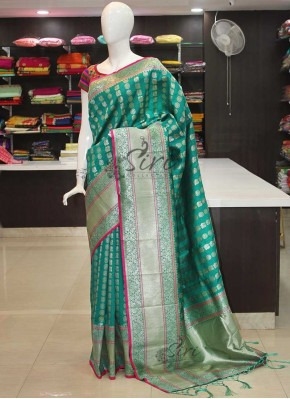 Rama Blue Fancy Banarasi Silk Saree in Silver Zari