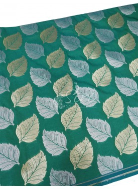 Rama Green Banarasi Silk Fabric in Big Leaf Design