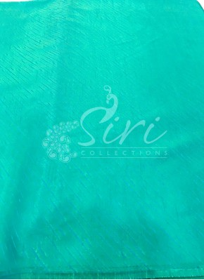 Rama Green Blue Double Shade Soft Silk Fabric in Self Cross Lines Design Per Meter