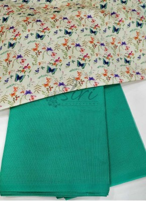 Rama Green Manipuri Silk Saree in Self Checks with Digital Print Blouse