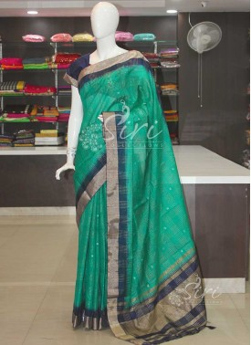 Rama Green Navy Blue Fancy Linen Jute Saree