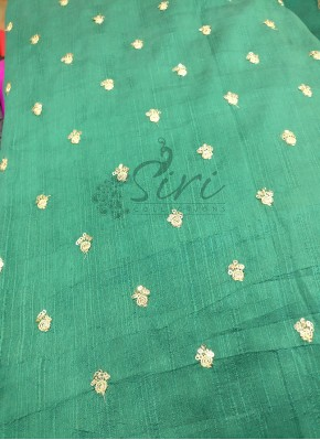 Rama Green Raw Silk Fabric in Small Embroidery Work Butis Per Meter-