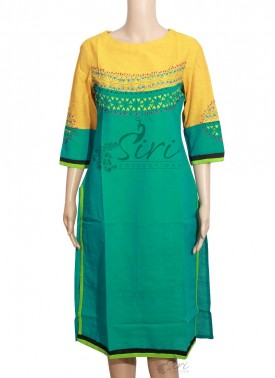 Yellow Teal Colour Cotton Kurti With Embroidery Work