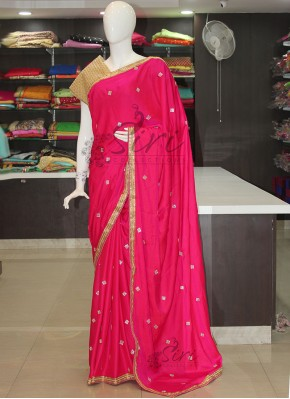 Rani Pink Double Shade Barfi Satin Silk Saree in Stone Work Butis