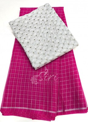 Rani Pink Organza Saree in Silver Checks with Designer Blouse Fabric