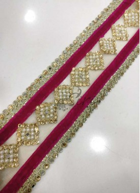 Rani Pink Velvet Gold Border Lace in Stones Pearls Mirrors