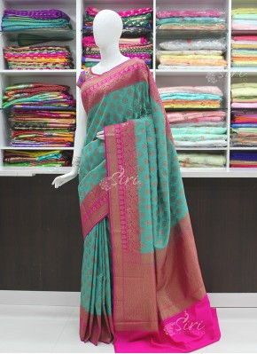 Ravishing Rama Green and Magenta Pink Banarasi Silk Saree