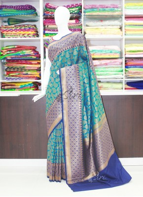 Ravishing Ramagreen Navy Blue Banarasi Silk Saree in Contrast Border and Pallu