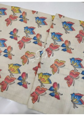 Raw Silk Fabric in Butterfly Design