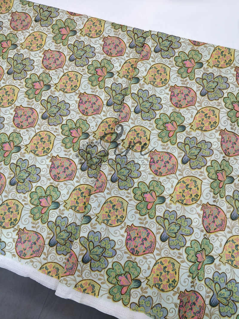 Raw Silk Fabric in Multi Color Digital Print and Embroidery Work