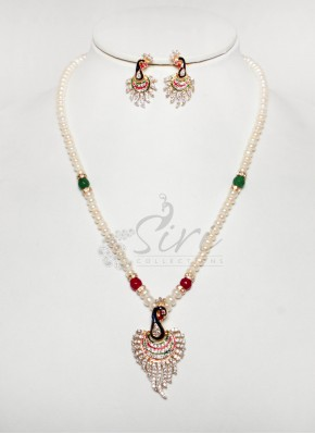 Real pearl maala in peacock design pendant set