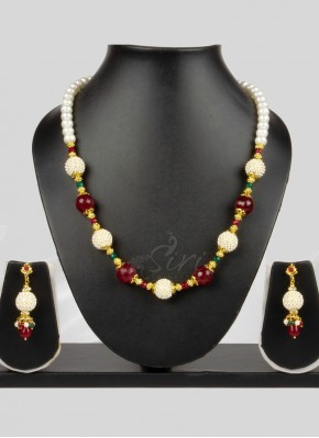 Real Pearls Onyx Fashion Jewellery Chain Necklace Set