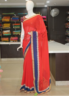 Red and Blue Designer Georgette Saree in Pearl Work and Fancy Borders