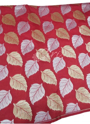 Red Banarasi Silk Fabric in Big Leaf Design