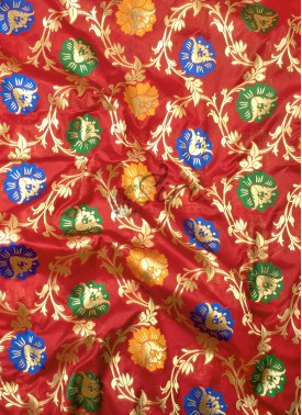 Red Banarasi Silk Fabric in Multi Meena Jaal Per Meter