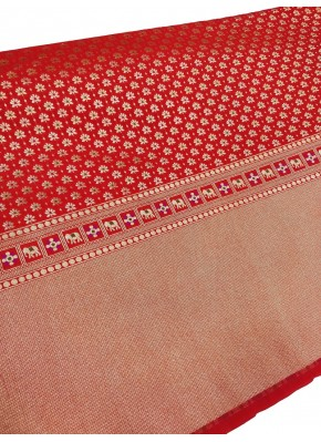 Red Banarasi Silk Fabric in one side Border Design Per Meter