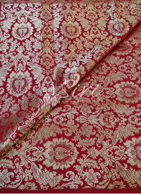 Red Banarasi Silk Fabric Per Meter