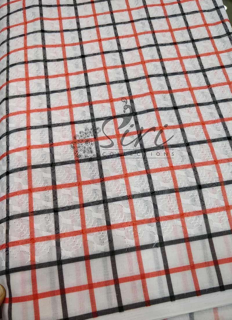 Red Black Check Design Digital Print In Self Embroidery Work Cotton Fabric Per Meter
