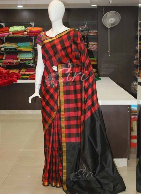 Red Black Checks Uppada Pattu Silk Saree