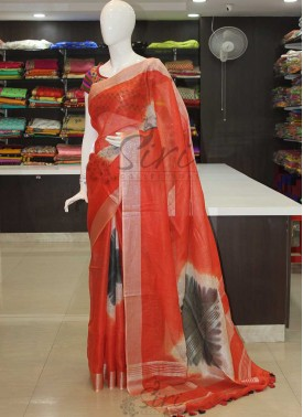 Red Black Shibori Pure Linen Saree in Silver Zari