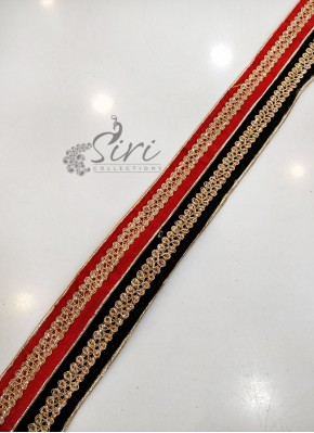 Red Black Velvet Finish Fancy Lace Border