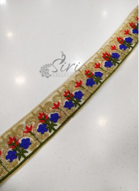 Red Blue Net Gold Saree Lace Border in Sequins and Embroidery Work