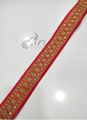 Red Border Lace in Gold Cording Sequins Work