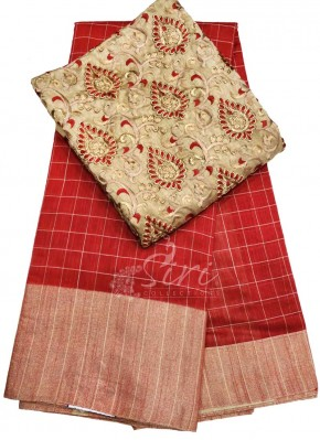 Red Chanderi Jute Saree with Designer Blouse Fabric