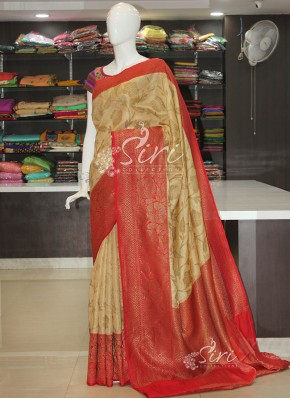 Red Cream Fancy Banarasi Tissue Dupion Silk Saree