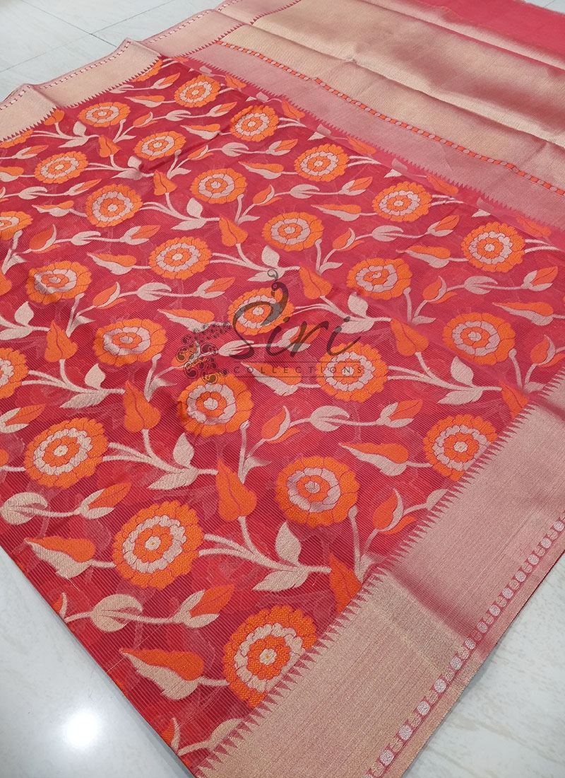 Red Designer Saree in All Over Jaal With Rich Pallu