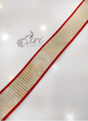 Red Dull Antique Gold Fancy Lace Border