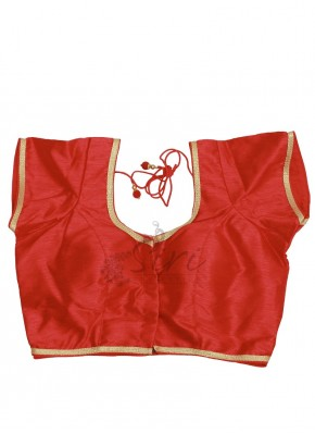 Red Dupion Silk Stitched Blouse in Gold Border