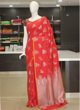 Red Fancy Banarasi Silk Saree in Silver Zari