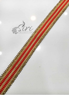 Red Gold Stone Work Fancy Lace Border