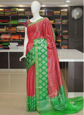 Red Green Banarasi Soft Organza Saree