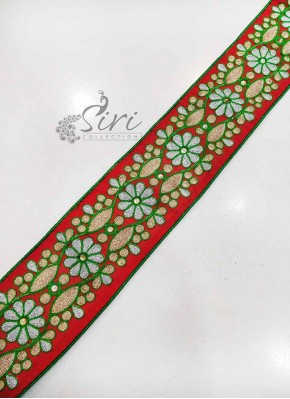 Red Green Fancy Border Lace in Silver Gold zari Work