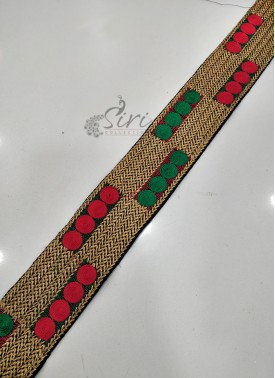 Red Green Gold Border Lace in Embroidery Work