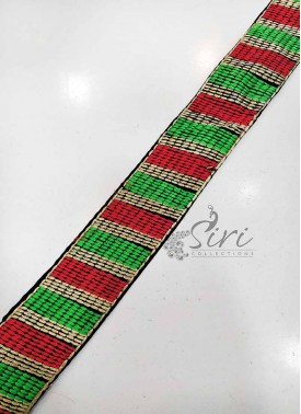 Red Green Gold Fancy Lace Border