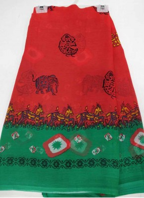 Red Green Printed Chiffon Saree