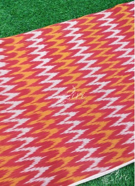 Red Ikat Cotton Fabric Per Meter